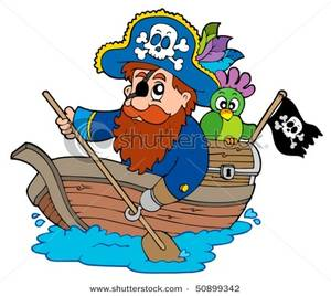 300x268 Pirate With Parrot Paddling In Boat
