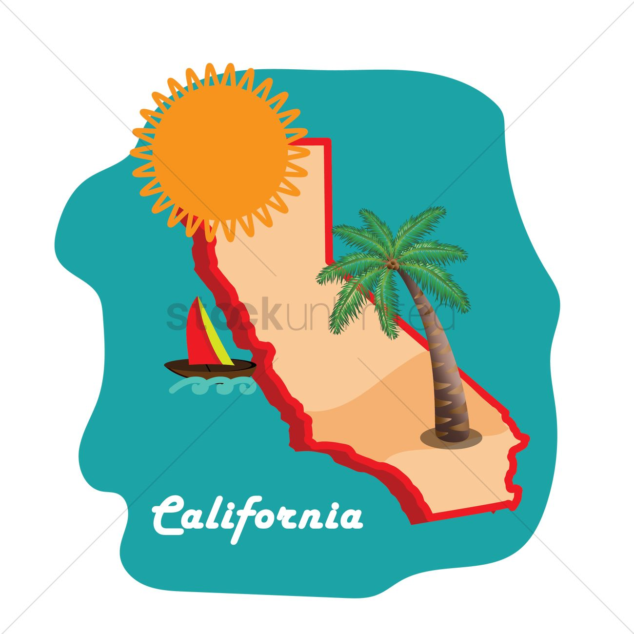 1300x1300 California State Map With Long Beach Vector Image