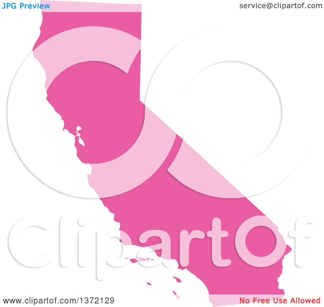 1080x1024 Clipart Of A Pink Silhouetted Map Shape Of The State Of California