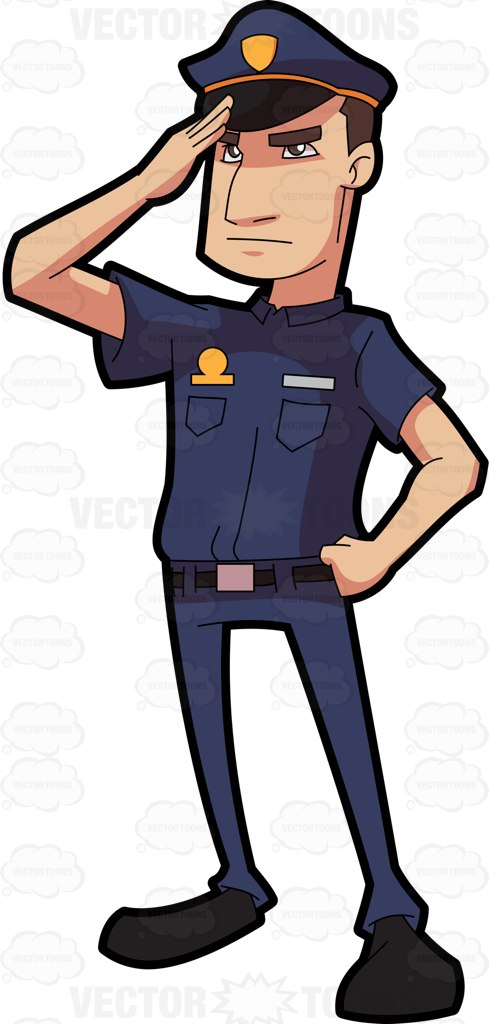 489x1024 A Police Officer Salutes In Respect Cartoon Clipart Vector Toons