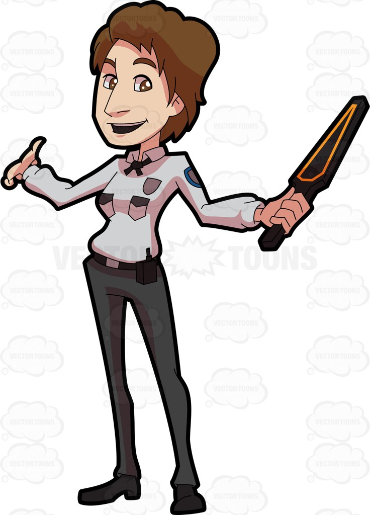 736x1024 A Welcoming Female Guard On Duty Cartoon Clipart Vector Toons