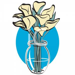 300x300 Royalty Free Clipart Image Calla Lilies In A Clear Vase