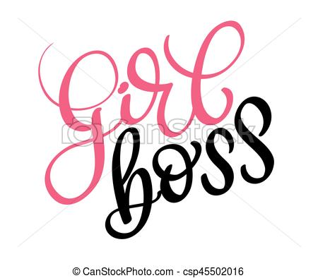 450x394 Girl Boss Vector Text On White Background. Calligraphy Vector