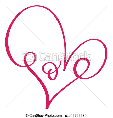 450x470 Love Word In Red Heart. Vector Calligraphy And Lettering Vector