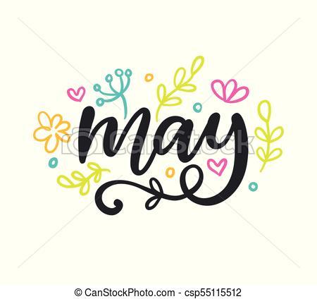 450x424 May. Spring Modern Calligraphy. Seasonal Hand Written Vector