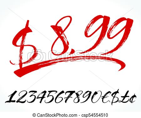450x379 Numbers And Lettering. Brush Lettering Numbers, Punctuation
