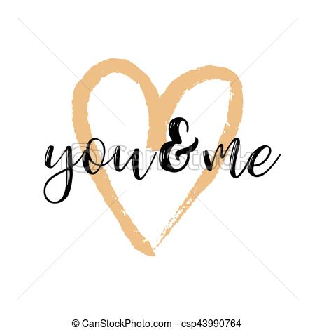 450x470 Brush Drawing Calligraphy Heart Card. Vector Illustration . Clip