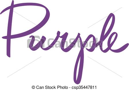 450x314 Calligraphy. Handwritten Names Of Colors Purple, Isolated
