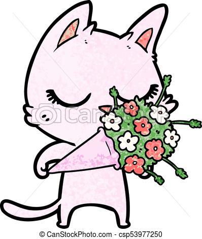 398x470 Calm Cartoon Cat With Flowers Clipart Vector