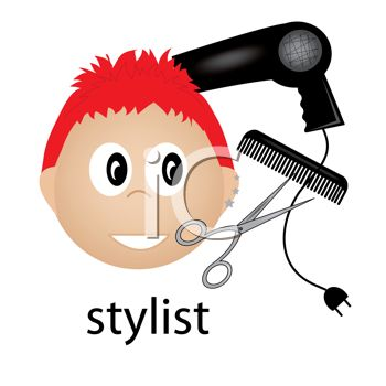 350x350 Hairstylist Icon With A Blow Dryer, Calm And Styling Scissors