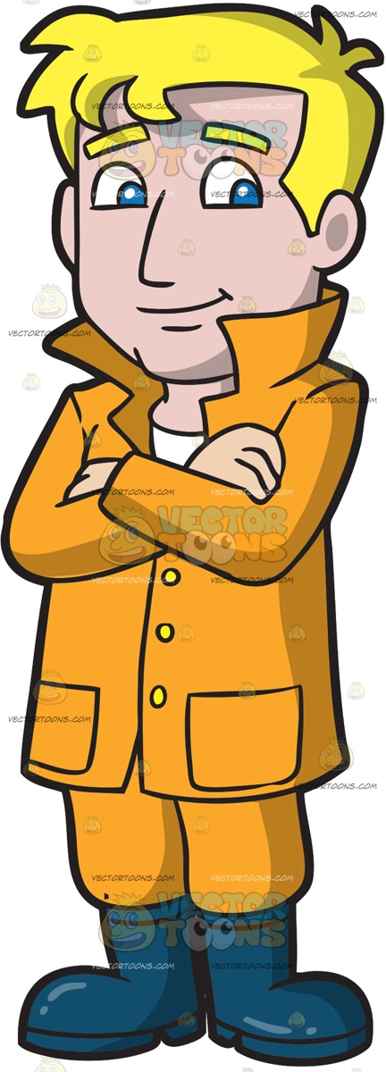 432x1200 A Calm And Collected Man Dressed For Rain Cartoon Clipart Vector
