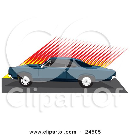 450x470 Clipart Illustration Of A 1970 Chevy Camaro Muscle Car With Racing
