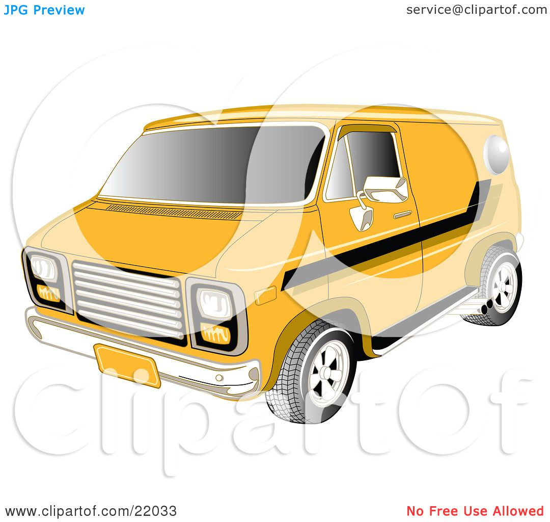 1080x1024 Clipart Illustration Of A Yellow 1979 Chevy Van With Tinted
