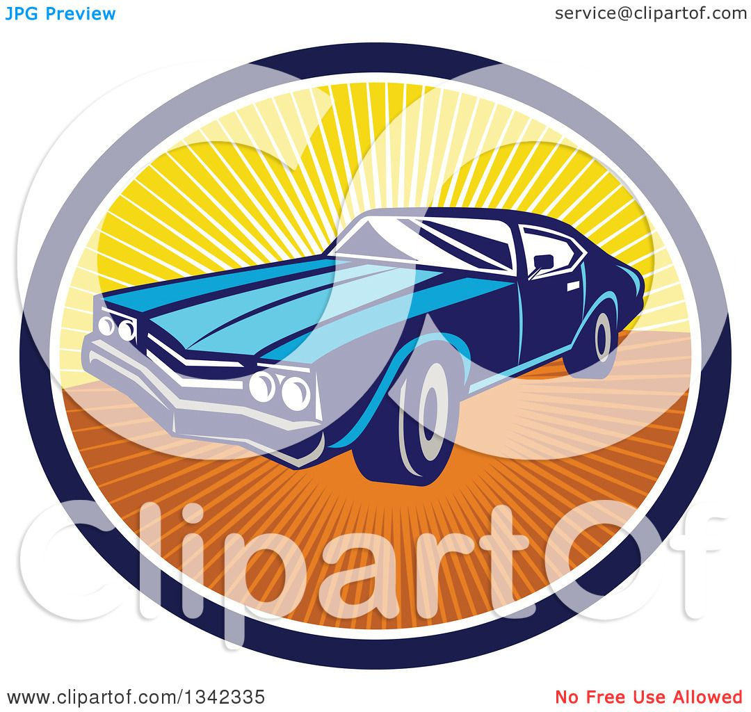 1080x1024 Clipart Of A Retro Blue American Muscle Car In A Navy Blue, White