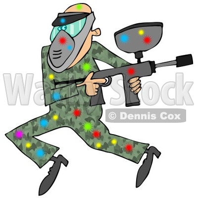 400x400 Clipart Of A Paintball Man In Camouflage, Covered In Colorful
