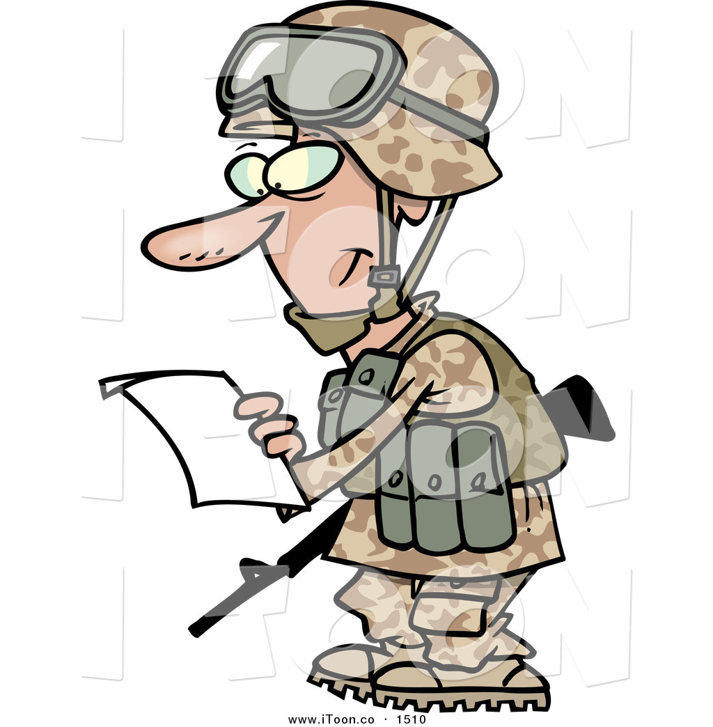 1024x1044 Cartoon Cheerful Caucasian Marine Soldier Man In A Camouflage