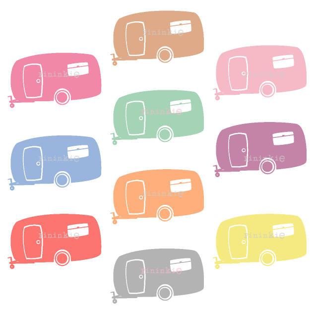 633x633 Retro Clipart, Summer Clipart, Camping Clip Art, Camper, Caravan