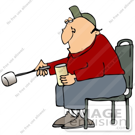 450x450 Clip Art Graphic Of A Caucasian Guy Sitting By A Campfire