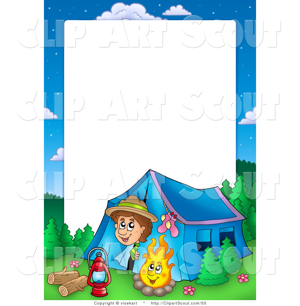 1024x1044 Clipart Of A Boy Camping Border Frame Around White Space For Text