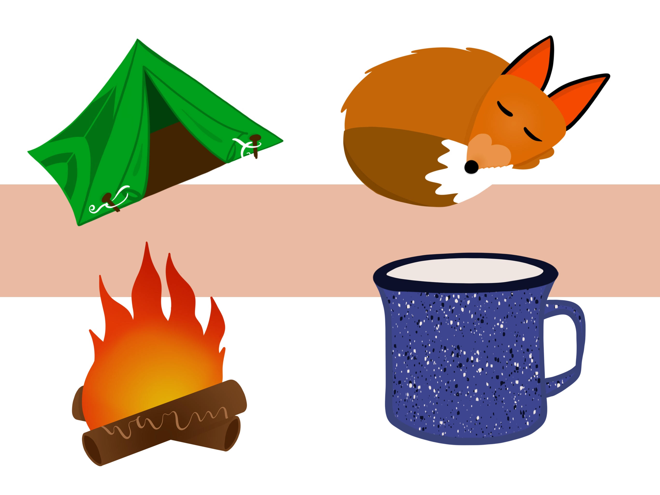 2732x2048 Camping Clip Art Designs With Tent, S'Mores, Campfire, Fox, Bear