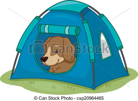 450x331 Dog Camping Tent. Illustration Featuring A Cute Little Dog Clip