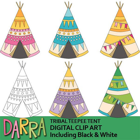 570x570 Tribal Teepee Tent Clipart Camping Clipart Commercial Use