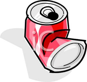 300x283 A Crumpled Can Of Soda Clip Art Image