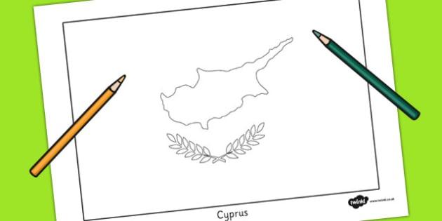 630x315 Cyprus Flag Colouring Sheet