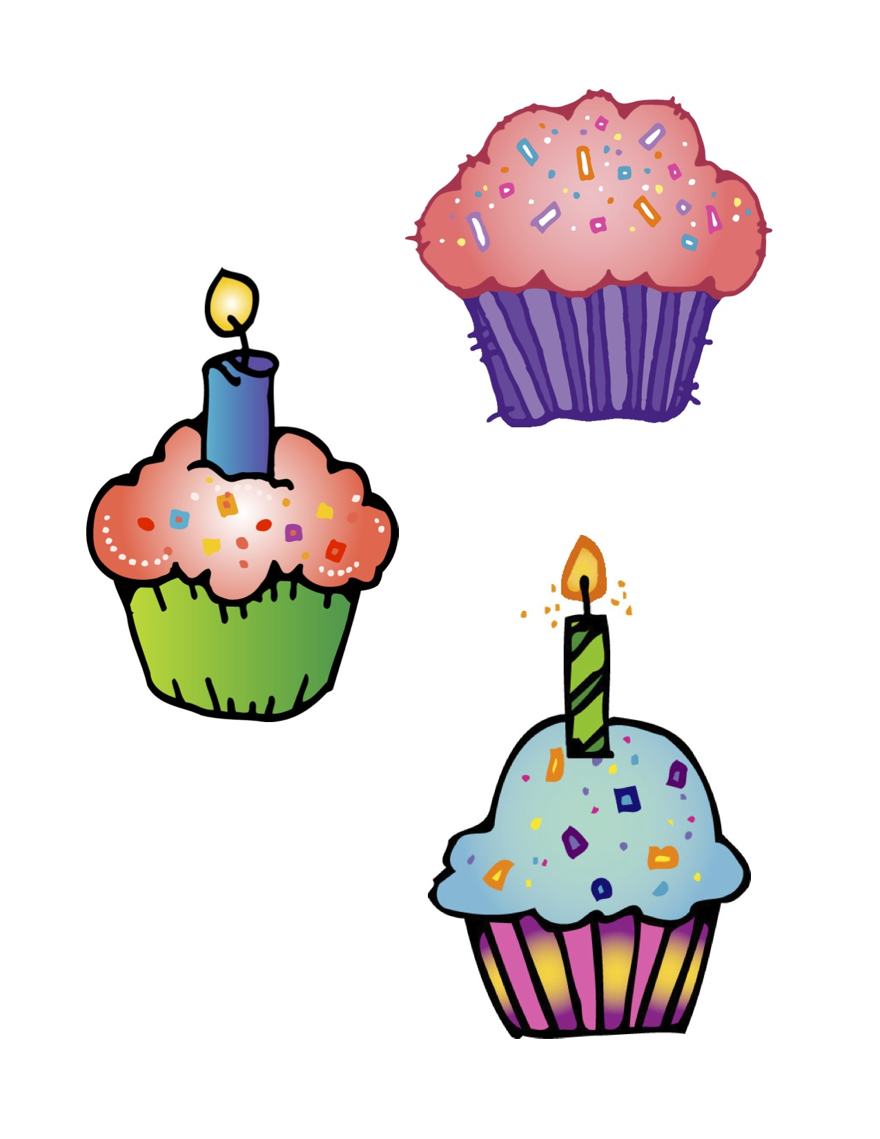 1275x1650 Icing Clipart Birthday Cupcake Pencil And In Color Clip Art Small