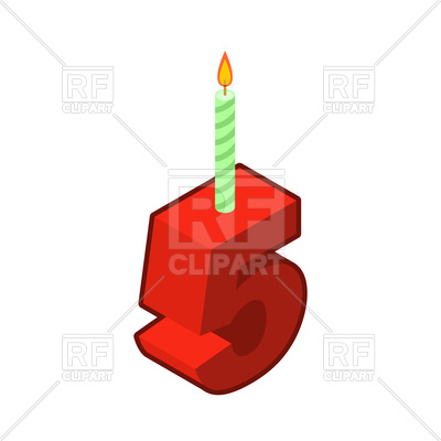 400x400 Number 5 With Candles For Birthday Cake Royalty Free Vector Clip