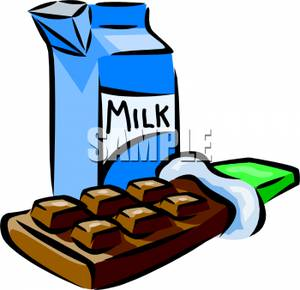 300x290 A Chocolate Bar With A Carton Of Milk Clipart Image