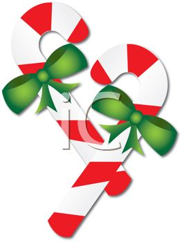 263x350 Picture Of Candy Cane With Green Bows In A Vector Clip Art