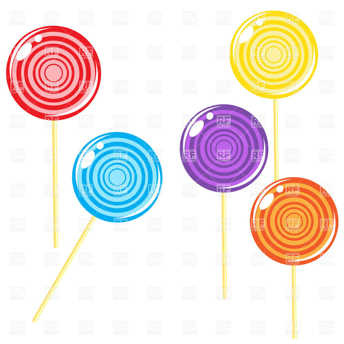 1200x1200 Glossy Round Lollipop Candies Royalty Free Vector Clip Art Image