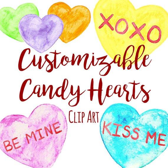570x570 Customizable Watercolor Candy Conversation Heart Clip Art, Custom