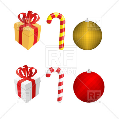 400x400 Set Of Christmas Elements Gift Box, Candy Cane And Christmas Ball