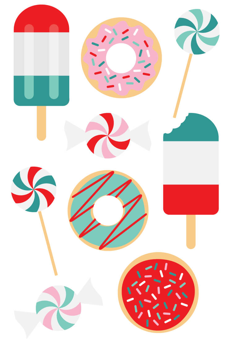 750x1125 Festive Sweets Christmas Clip Art And Cut Files