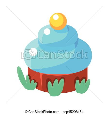450x470 Chocolate Cupcake With Blue Icing, Fairy Tale Candy Land Clip