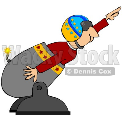 400x400 Clipart Illustration Of A Male Human Cannonball In A Helmet