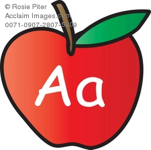 300x298 Clip Art Illustration Of An Apple With The Letter A Written On It