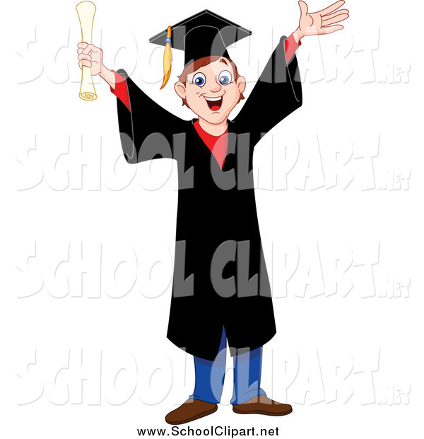 600x620 Clip Art Of A Happy Cheering Young Graduating Boy In A Black Cap
