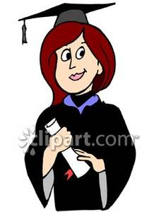225x300 Female Graduate In Cap And Gown Holding Diploma Royalty Free