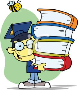 261x300 A Smiling Child In A Graduation Cap And Gown With A Stack Of Books