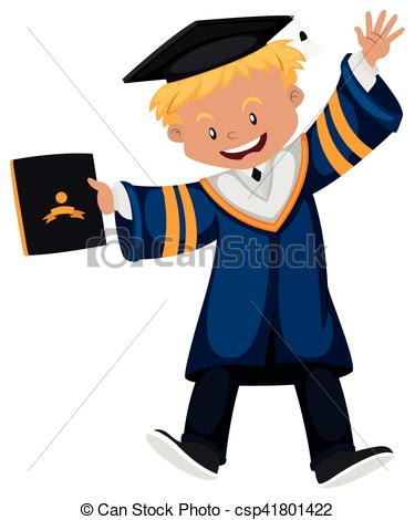 375x470 Man In Graduation Gown Holding Diploma Illustration Vector
