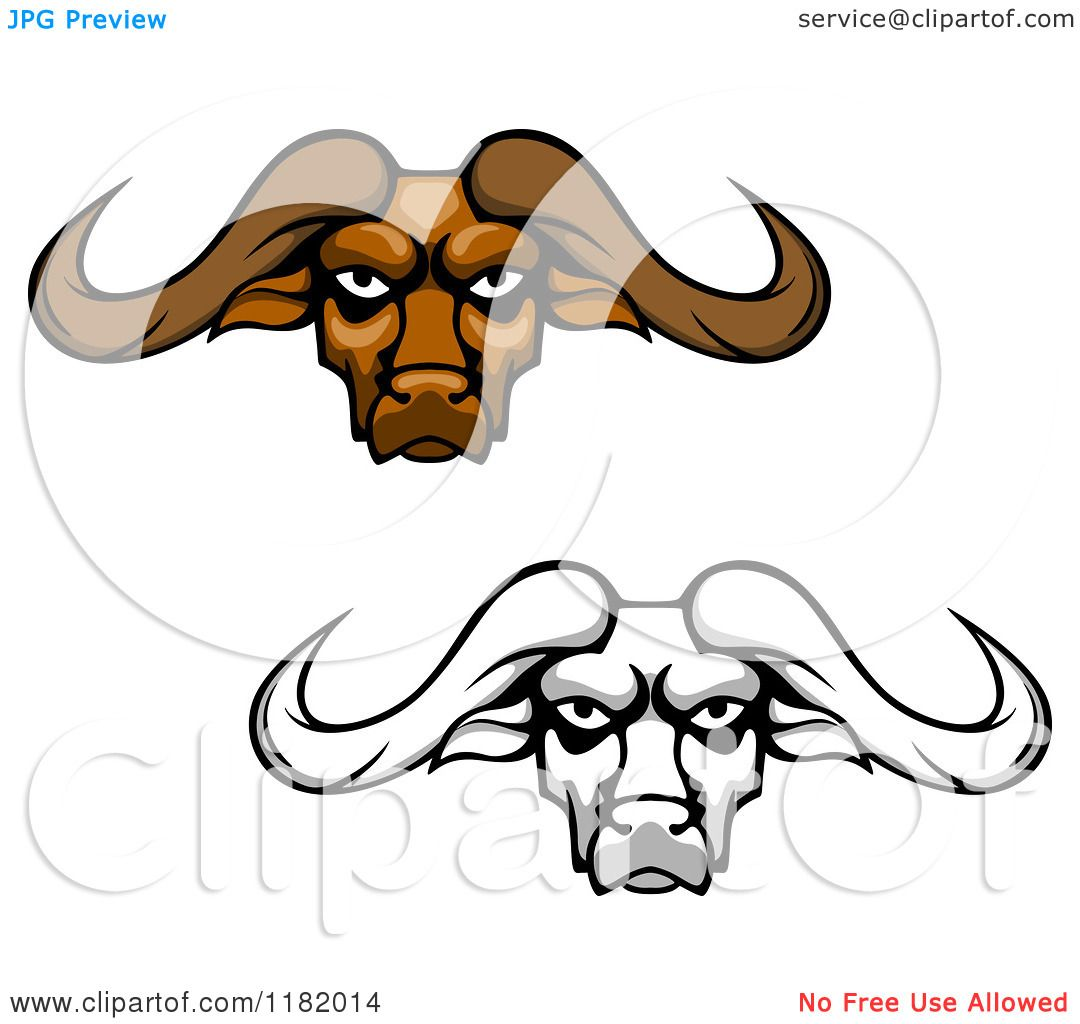 1080x1024 Clipart Of Aggressive Brown And Grayscale Buffalo Heads With Long