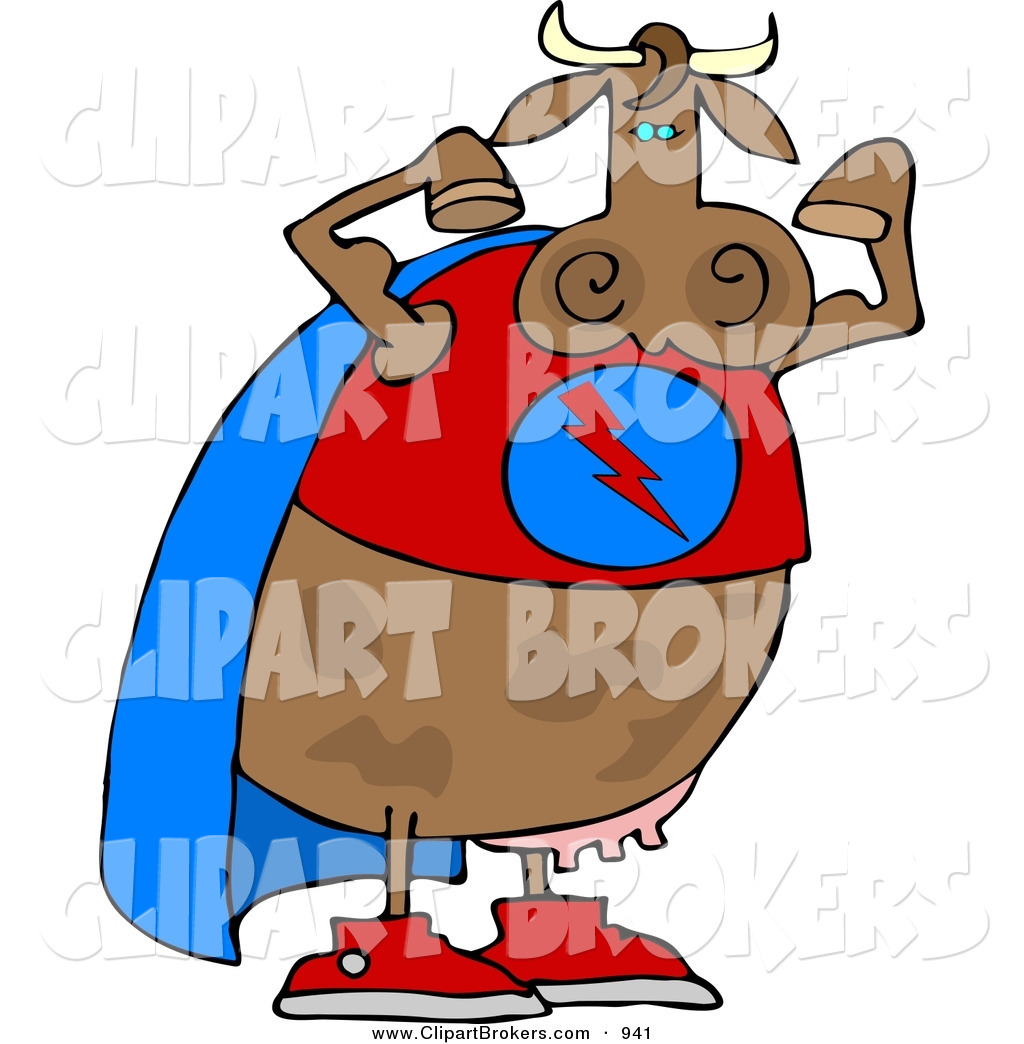 1024x1044 Clip Art Cartoon Of A Muscular Strong Superhero Cow Wearing A Cape