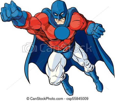 450x396 Patriotic Male Superhero Vector Cartoon. Vector Cartoon Clip Art