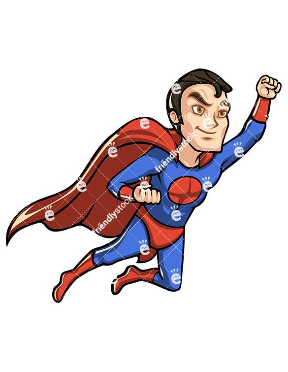 585x755 Superhero With Cape Flying Like Superman Cartoon Clipart