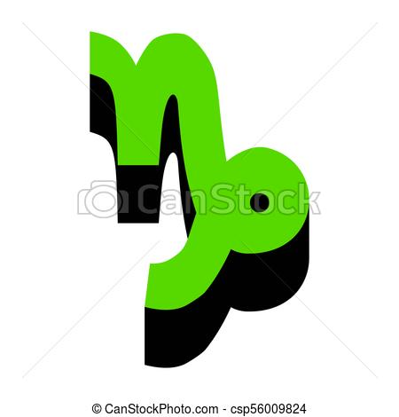 450x470 Capricorn Sign Illustration. Vector. Green 3d Icon With Black Side