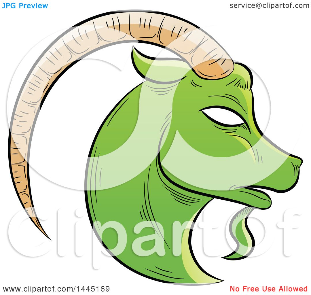 1080x1024 Clipart Of A Sketched Green Astrology Zodiac Capricorn Goat Head