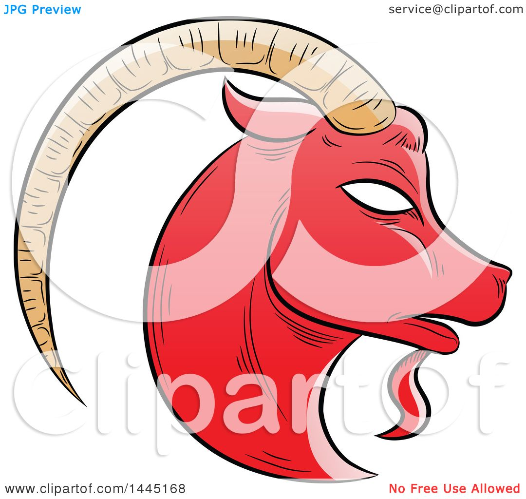 1080x1024 Clipart Of A Sketched Red Astrology Zodiac Capricorn Goat Head